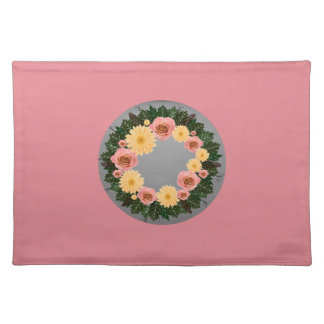 """Wreath """"Old Fashion"""" Peach/Pink Flowers Placemat"""