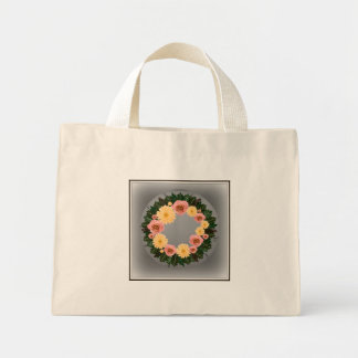 """Wreath """"Old Fashion"""" Peach/Pink Flowers Tote Bag"""
