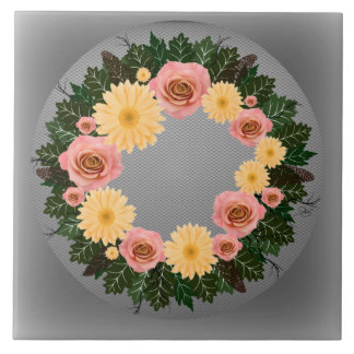 "Wreath ""Old Fashion"" Peach/Pink Flowers Trivet"