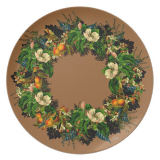 "Wreath ""Old Gold"" Flowers Floral Melamine Plate"