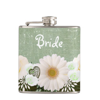 "Wreath ""Olive Wedding"" Hearts Flowers Flask"