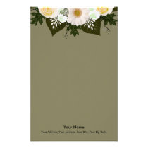 "Wreath ""Olive Wedding"" Hearts Flowers Stationery"
