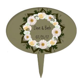 "Wreath ""Olive Wedding"" White Flowers Cake Pick"