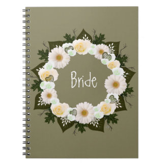"Wreath ""Olive Wedding"" White Flowers Notebook"
