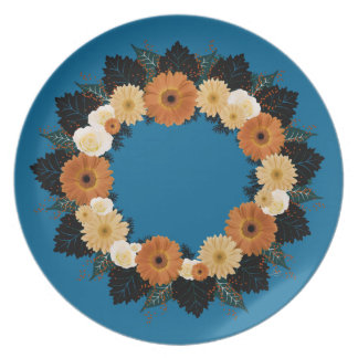 "Wreath ""Orange Blossom"" Flowers Melamine Plate"