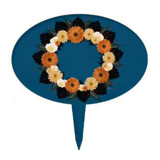 "Wreath ""Orange Blossom"" Orange Flowers Cake Pick"