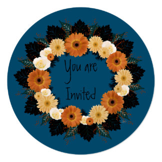 "Wreath ""Orange Blossom"" Orange Flowers Invitation"