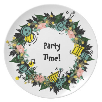 "Wreath ""Party Time"" Flowers Floral Melamine Plate"