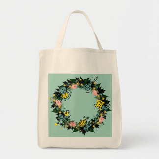"""Wreath """"Party Time"""" Flowers Floral Tote Bag"""
