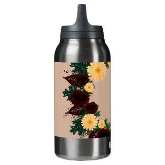 "Wreath ""Peach Daisy"" Flowers Aluminum Water Bottle"