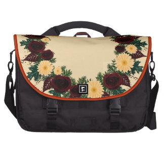"""Wreath """"Peach Daisy"""" Peach Flowers Laptop Bag"""