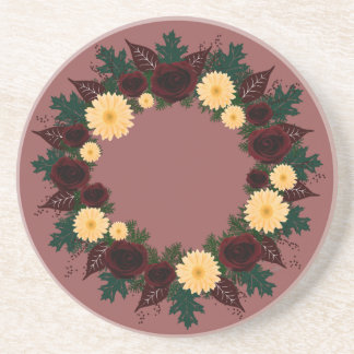 "Wreath ""Peach Daisy"" Peach/Red Flowers Coasters"