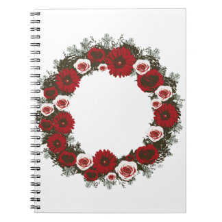 """Wreath """"Pine Cone"""" Poster Red/Pink Flower Notebook"""