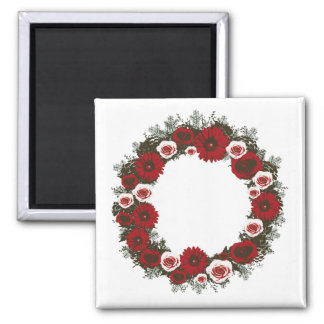 """Wreath """"Pine Cone"""" Poster Red/Pink Flowers Magnet"""