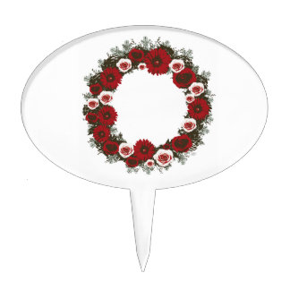 """Wreath """"Pine Cone"""" Posterized Flowers Cake Pick"""