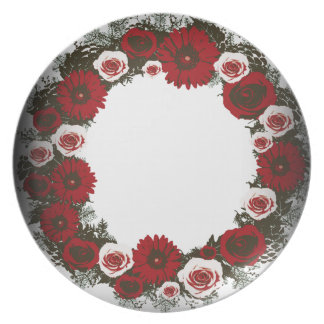 "Wreath ""Pine Cone"" Posterized Melamine Plate"