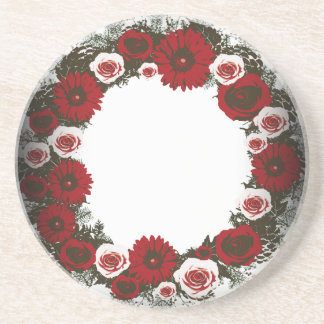 "Wreath ""Pine Cone"" Posterized Red Flowers Coasters"