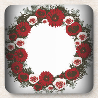"""Wreath """"Pine Cone"""" Posterized Red Flowers Coasters"""