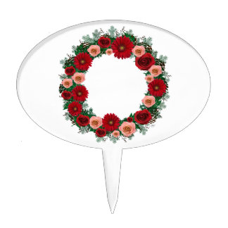 """Wreath """"Pine Cone"""" Red/Pink Flowers Cake Pick"""