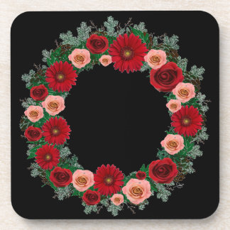 "Wreath ""Pine Cone"" Red/Pink Flowers Coasters"