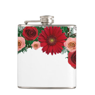 "Wreath ""Pine Cone"" Red/Pink Flowers Flask"