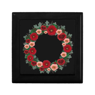 "Wreath ""Pine Cone"" Red/Pink Flowers Jewelry Box"