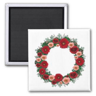 """Wreath """"Pine Cone"""" Red/Pink Flowers Magnet"""