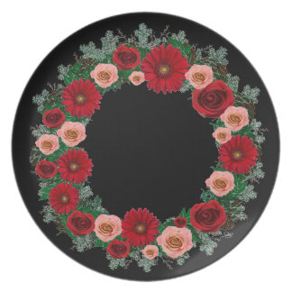 "Wreath ""Pine Cone"" Red/Pink Flowers Melamine Plate"