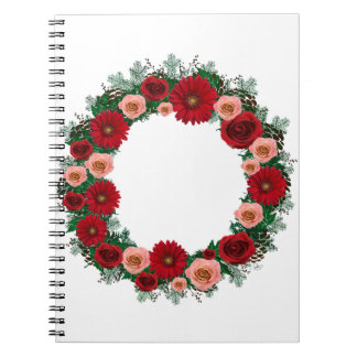"""Wreath """"Pine Cone"""" Red/Pink Flowers Notebook"""