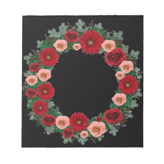 "Wreath ""Pine Cone"" Red/Pink Flowers Notepad"