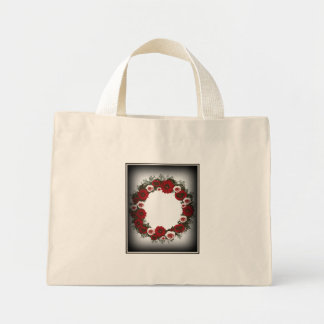 """Wreath """"Pine Cone"""" Red/Pink Flowers Tote Bag"""