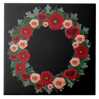 """Wreath """"Pine Cone"""" Red/Pink Flowers Trivet"""