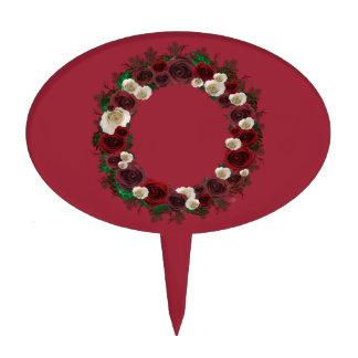 "Wreath ""Pine Roses"" Burgundy Flowers Cake Pick"
