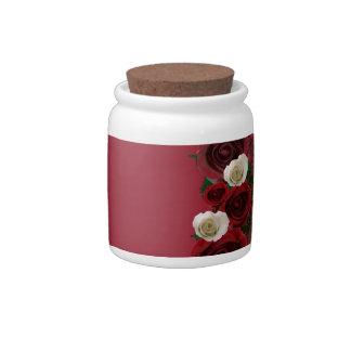 "Wreath ""Pine Roses"" Burgundy Flowers Candy Jar"