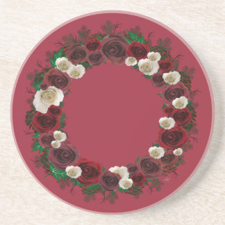 "Wreath ""Pine Roses"" Burgundy Flowers Coasters"
