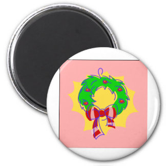 Wreath pink background refrigerator magnets