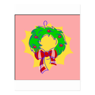 Wreath pink background postcard