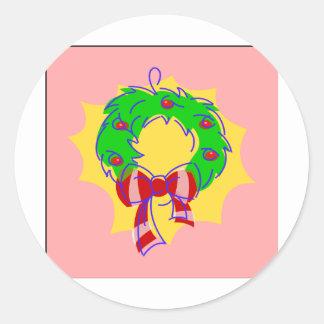 Wreath pink background classic round sticker