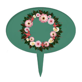 "Wreath ""Pink Bird"" Pink Daisies Roses Cake Pick"