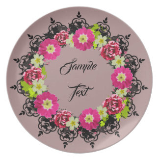 "Wreath ""Pink Grape"" Flowers Floral Melamine Plate"