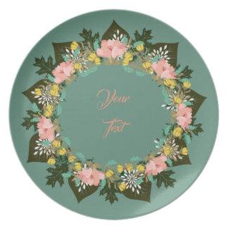 "Wreath ""Pink Love"" Flowers Floral Melamine Plate"