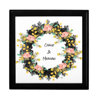 """Wreath """"Pink Yellow"""" Flowers Floral Jewelry Box"""