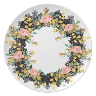 "Wreath ""Pink Yellow"" Flowers Floral Melamine Plate"