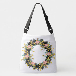 """Wreath """"Pink Yellow"""" Flowers Floral Tote Bag"""