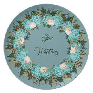 "Wreath ""Pretty Blue"" Flowers Floral Melamine Plate"