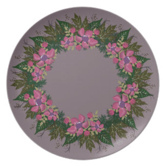 "Wreath ""Purple Dot"" Flowers Floral Melamine Plate"