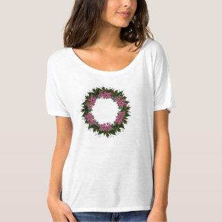 "Wreath ""Purple Dot"" Flowers Floral T-Shirt"