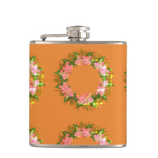 "Wreath ""Purple Dot"" Flowers Floral Vector Flask"