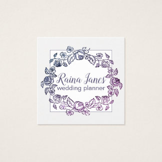 Wreath Purple Flowers Wedding Or Event Planner Square Business Card
