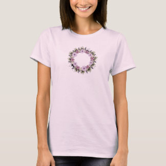 Wreath Purple Wedding Flower Floral Vector T-Shirt